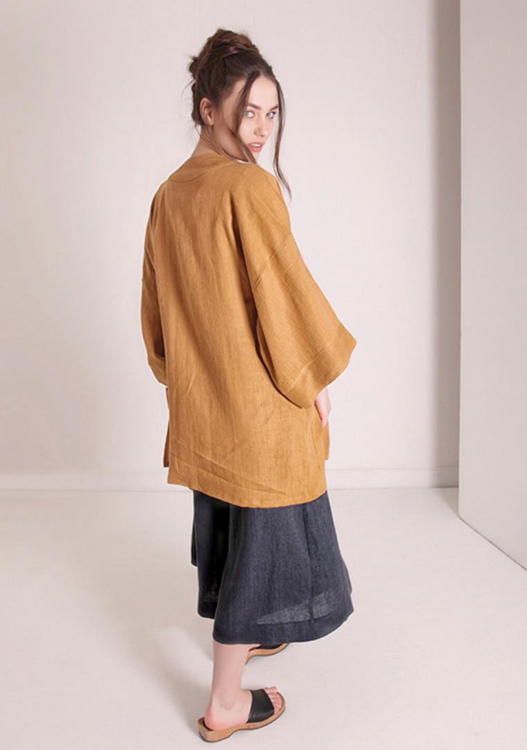 Linen cardigan Devonne in mustard 5