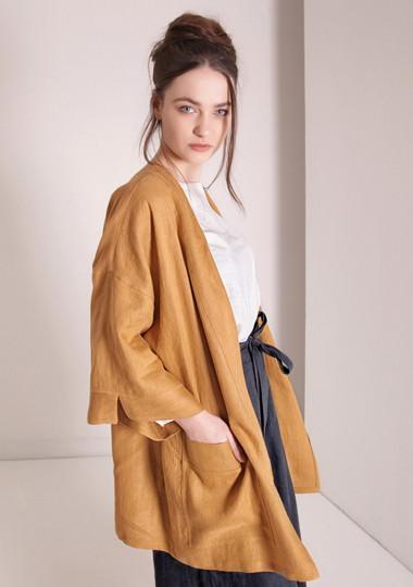 Linen cardigan Devonne in mustard