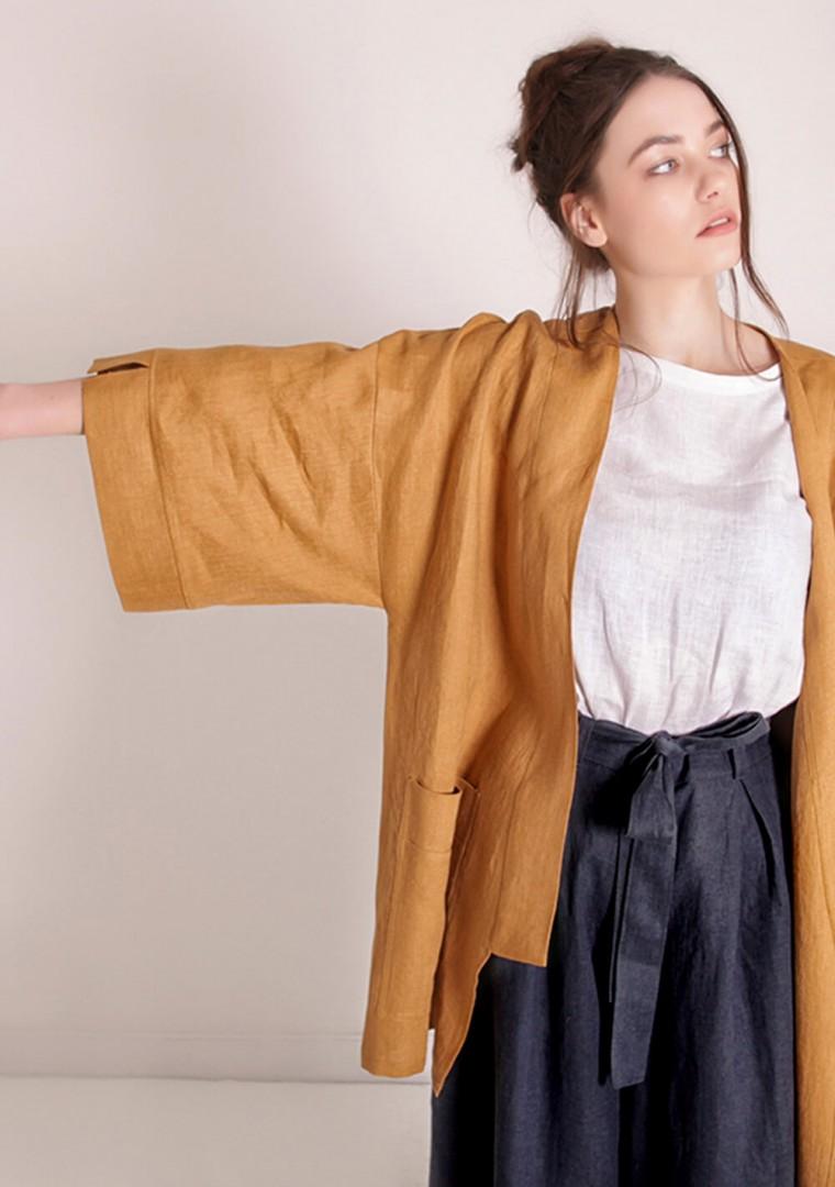 Linen cardigan Devonne in mustard 3