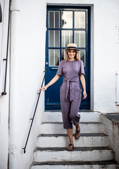 Linen jumpsuit Avery in lavender gray