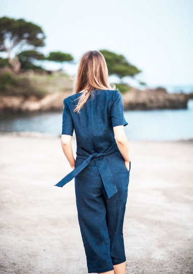 Linen jumpsuit Avery in navy blue