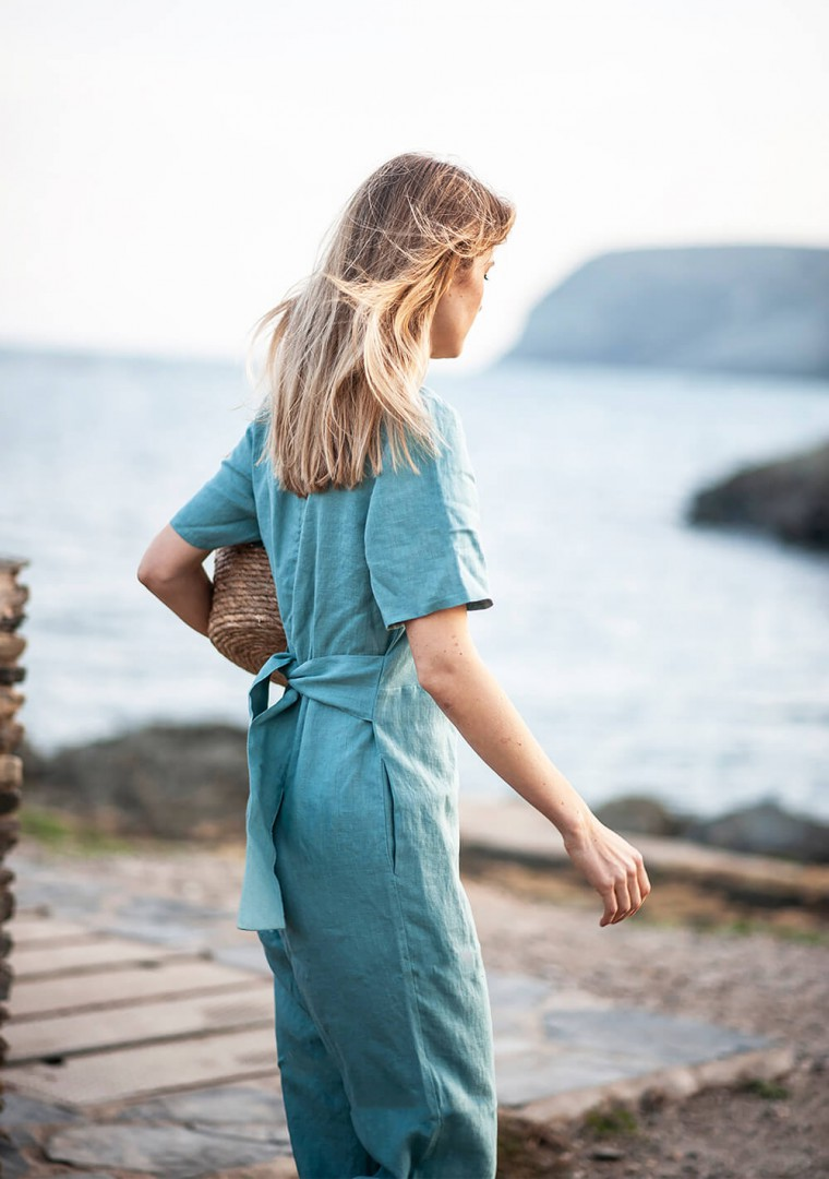 Linen jumpsuit Avery in teal 6