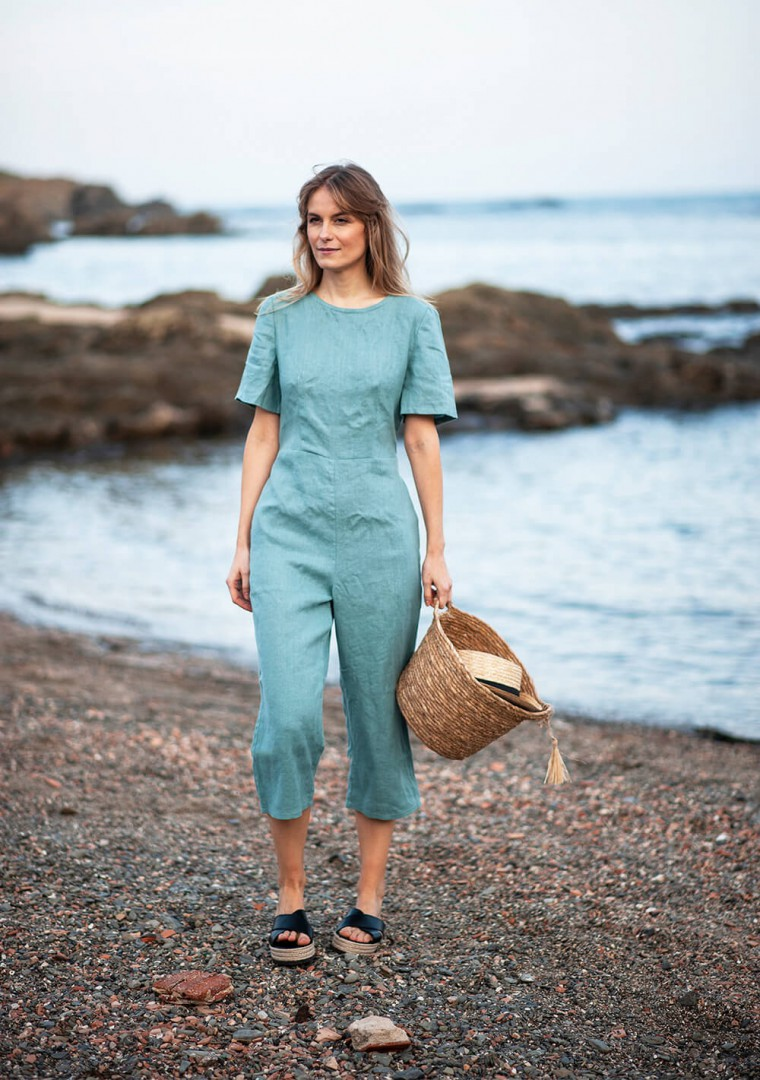 Linen jumpsuit Avery in teal 3