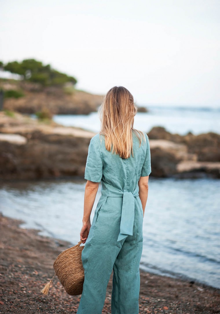 Linen jumpsuit Avery in teal 2