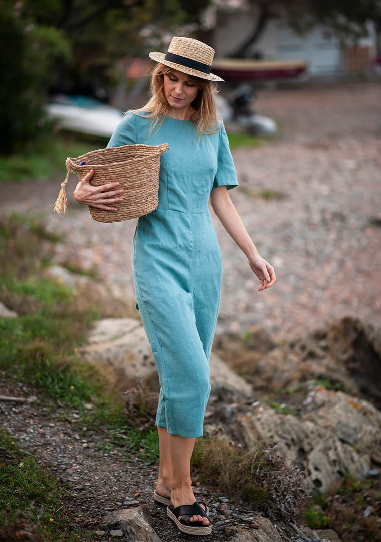 Linen jumpsuit Avery in teal 5