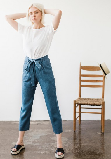 Linen pants with belt Dakota