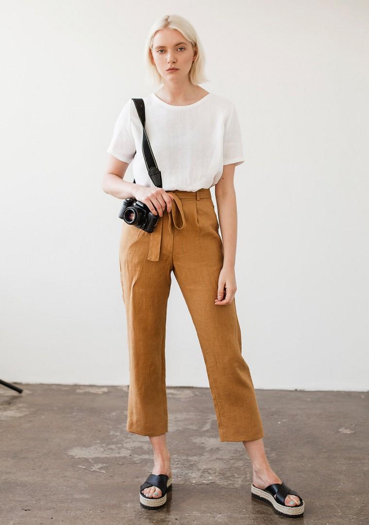 Linen pants Dakota in mustard 4