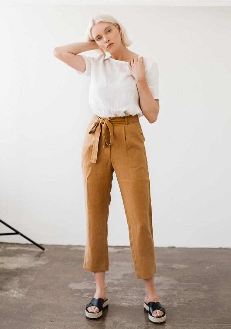 Linen pants Dakota in mustard 1