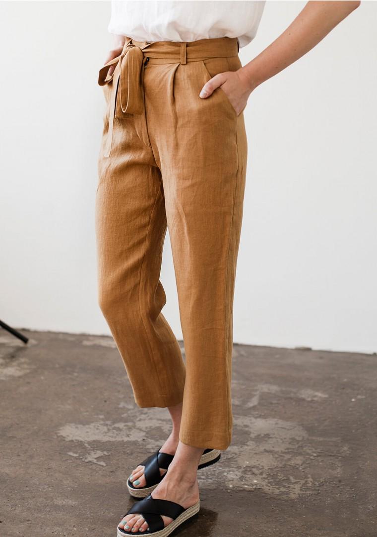 Linen pants Dakota in mustard 3