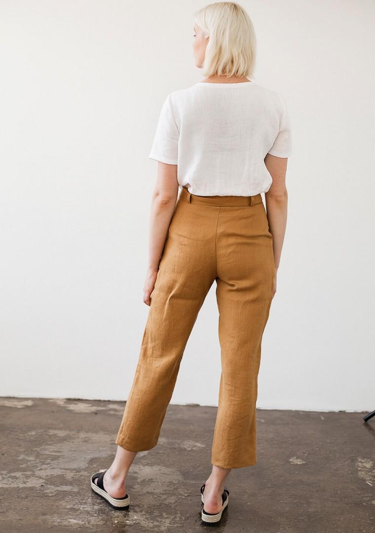 Linen pants Dakota in mustard 2