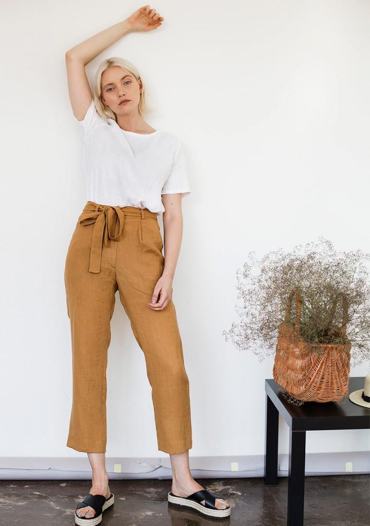 Linen pants Dakota in mustard 5