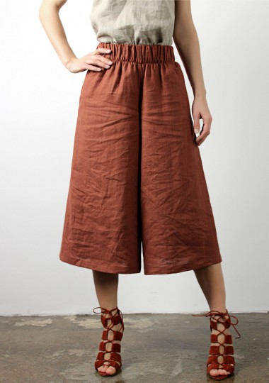 Linen culotte pants Sienna in tobacco