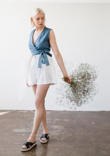 Linen shorts Agnes in optic white
