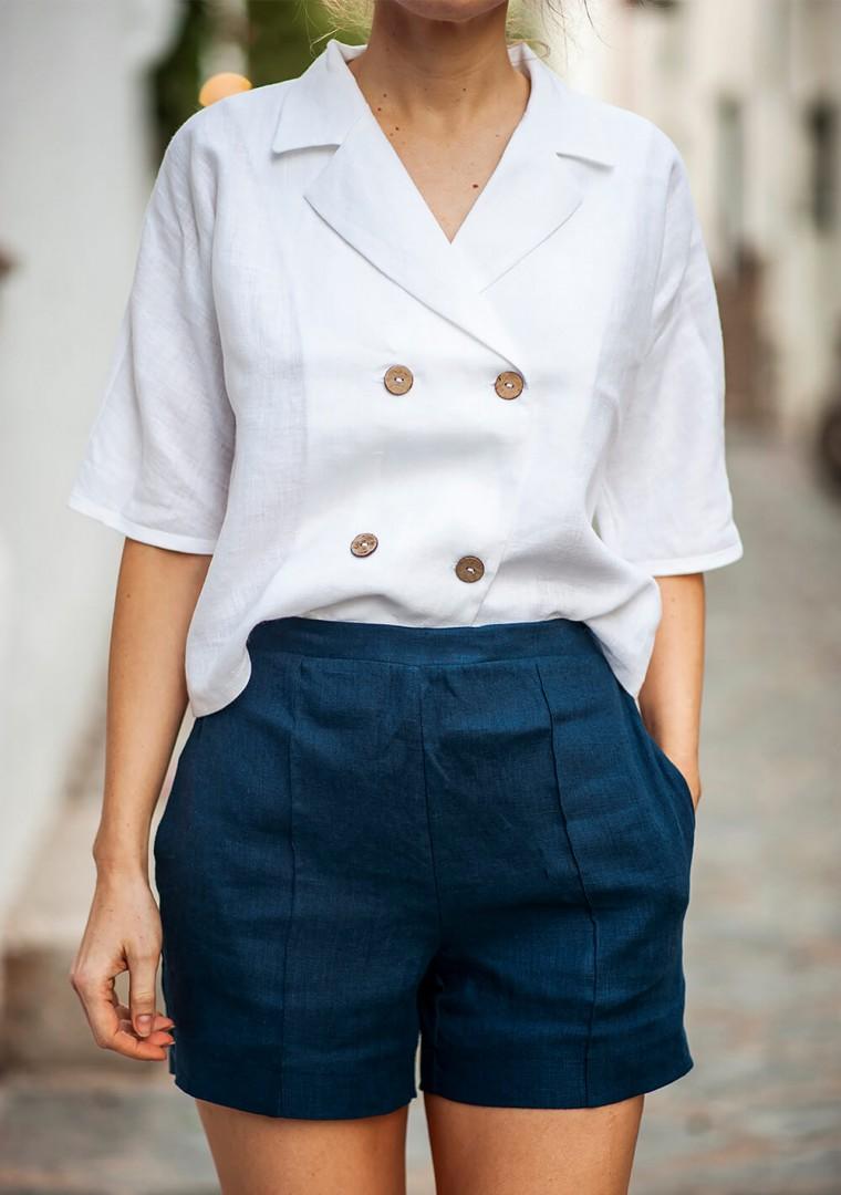Linen shorts Tori in navy blue 1