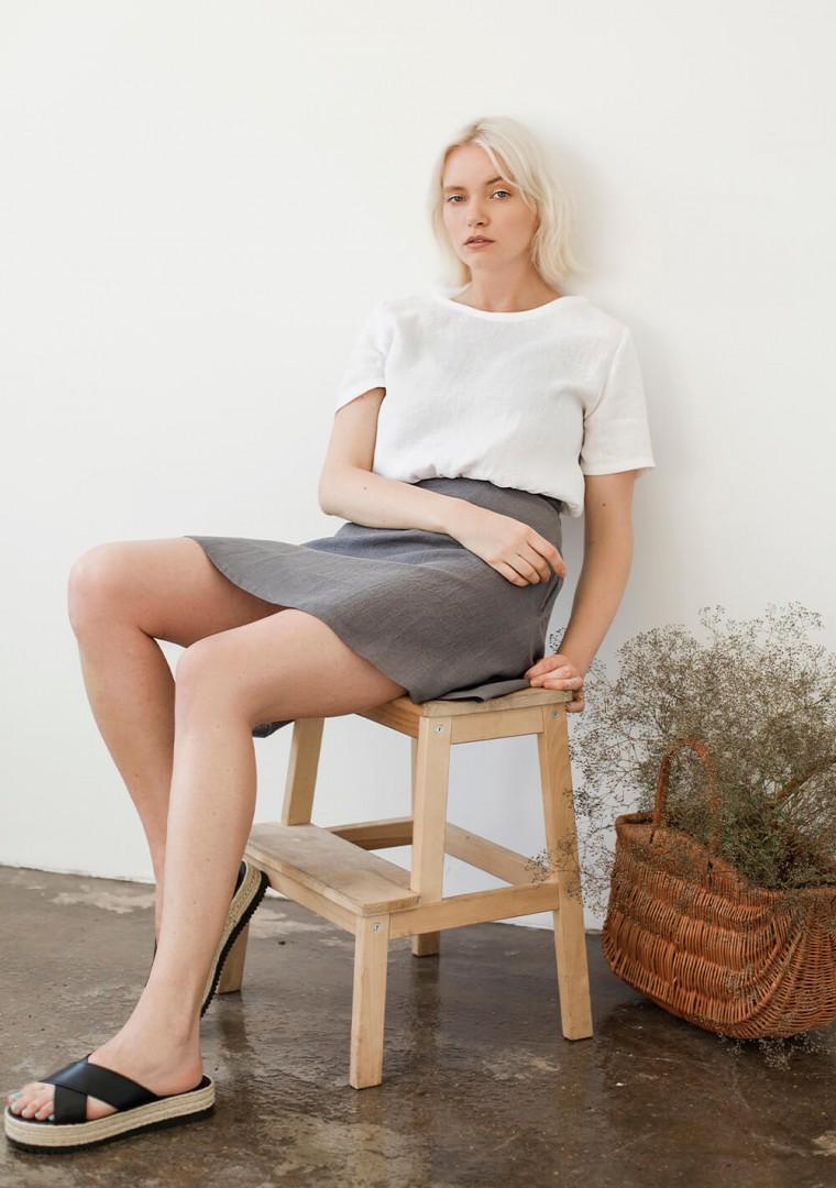 Linen mini skirt Adelle 3
