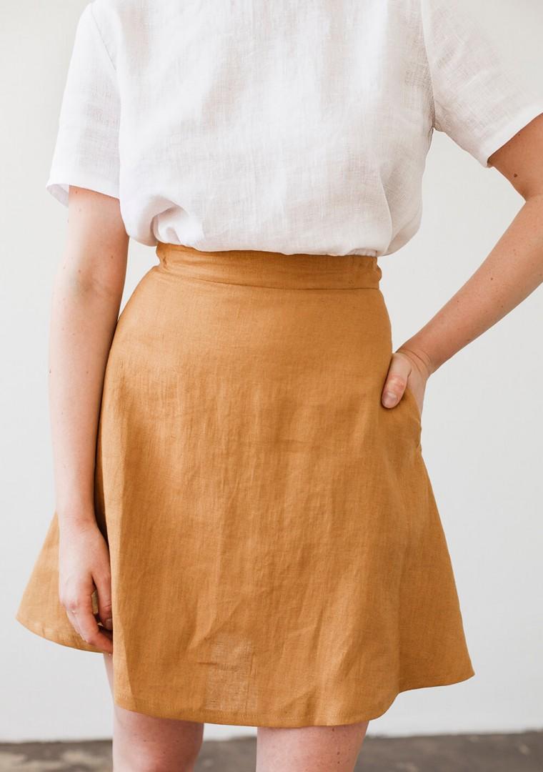 Linen mini skirt Adelle in mustard 3