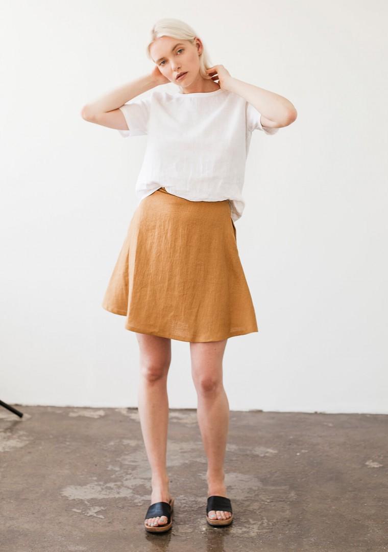 Linen mini skirt Adelle in mustard 1