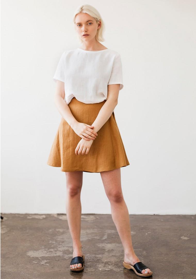 Linen mini skirt Adelle in mustard 4