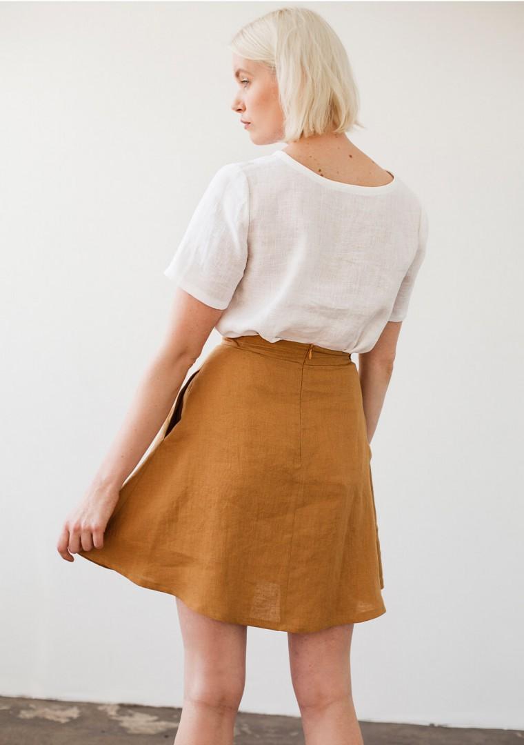 Linen mini skirt Adelle in mustard 5
