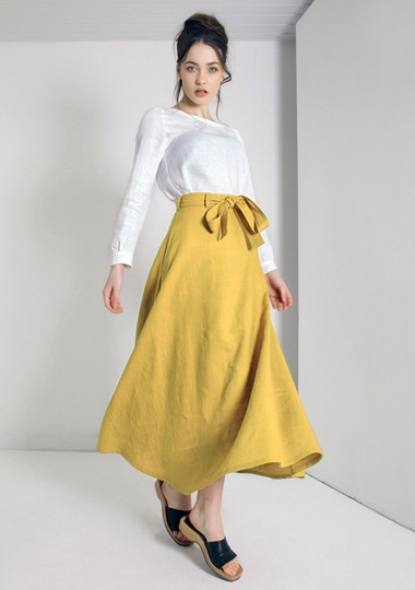 Linen maxi skirt Alessia in ceylon yellow