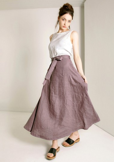 Linen maxi skirt with belt Alessia