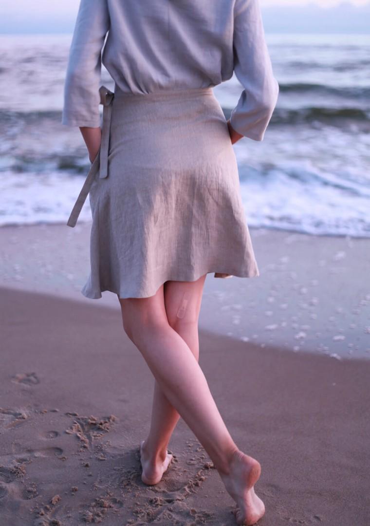 Wrap linen mini skirt Candice 4
