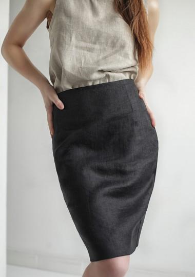 Linen pencil skirt Celine in black