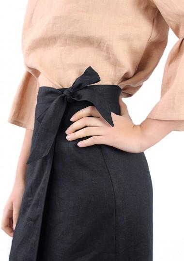 Linen wrap skirt Fiona in black