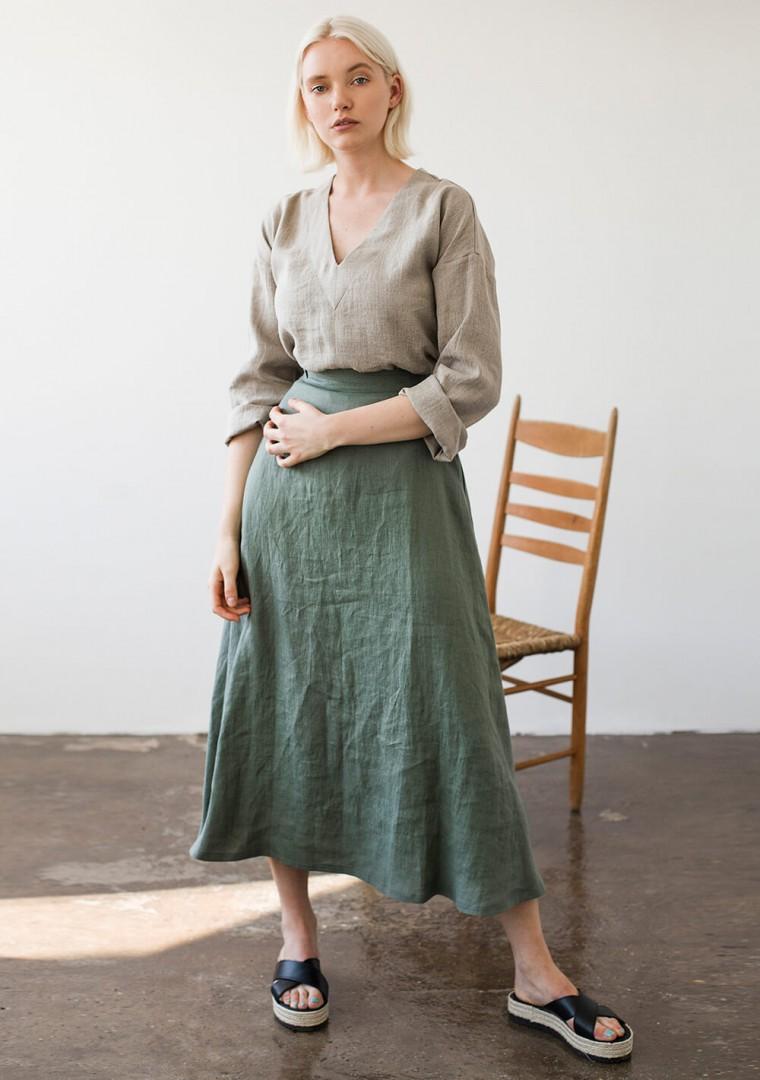 Ankle length linen skirt India 3