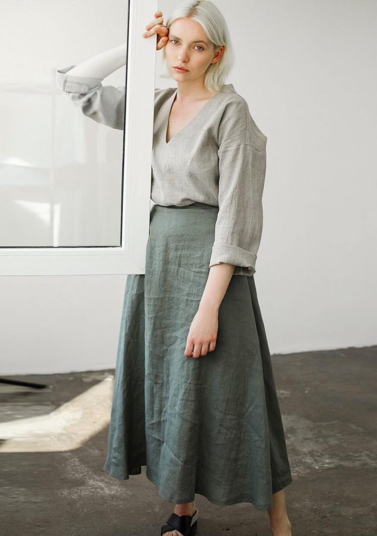 Ankle length linen skirt India 4