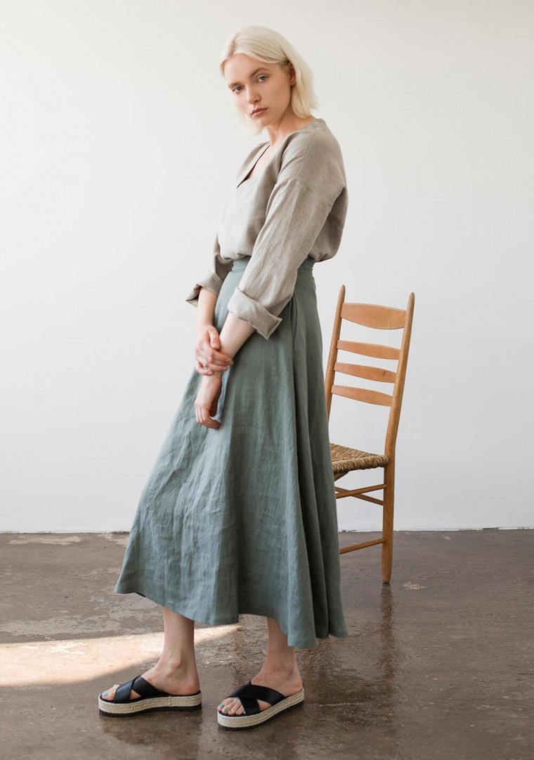 Ankle length linen skirt India 5
