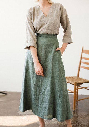 Ankle length linen skirt India