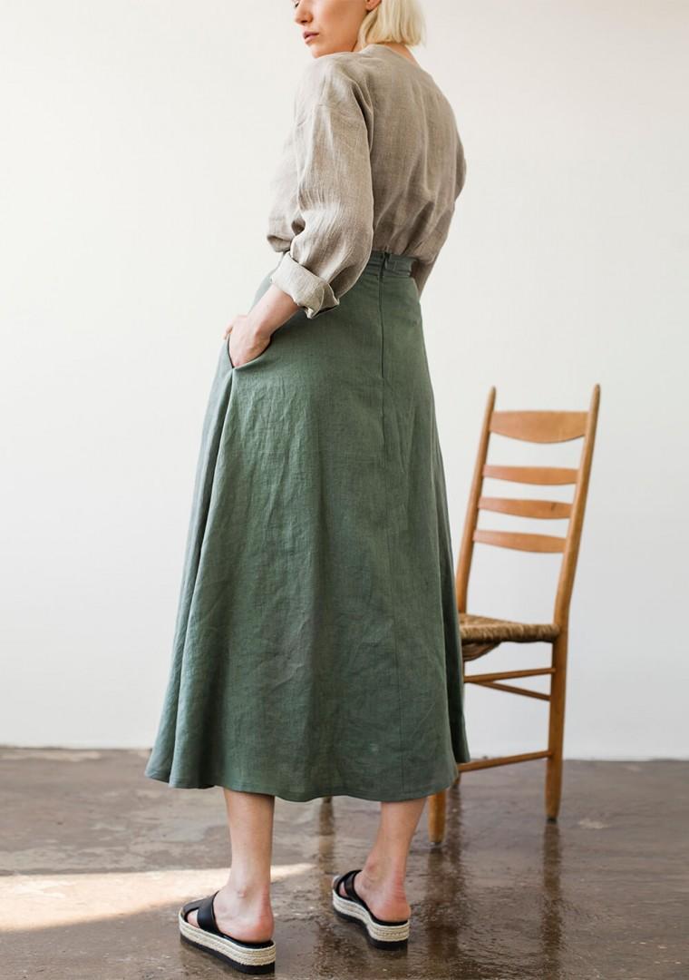 Ankle length linen skirt India 6