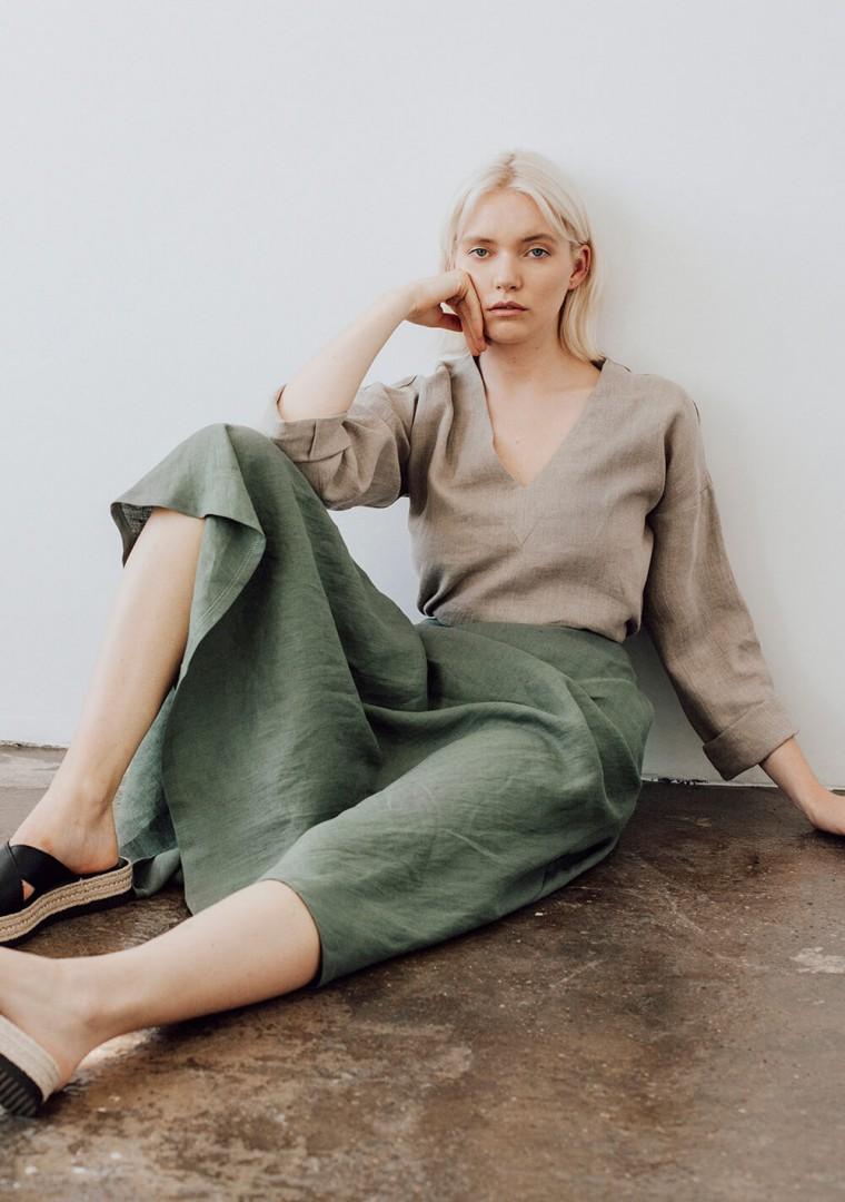Ankle length linen skirt India 2