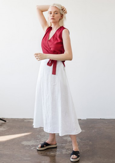 Linen skirt India in optic white