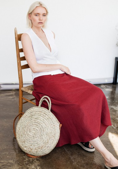 Linen skirt India in ruby red
