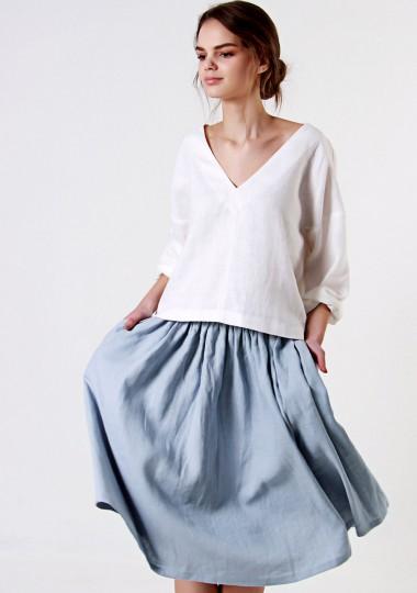 Linen ruffle waist skirt Margo