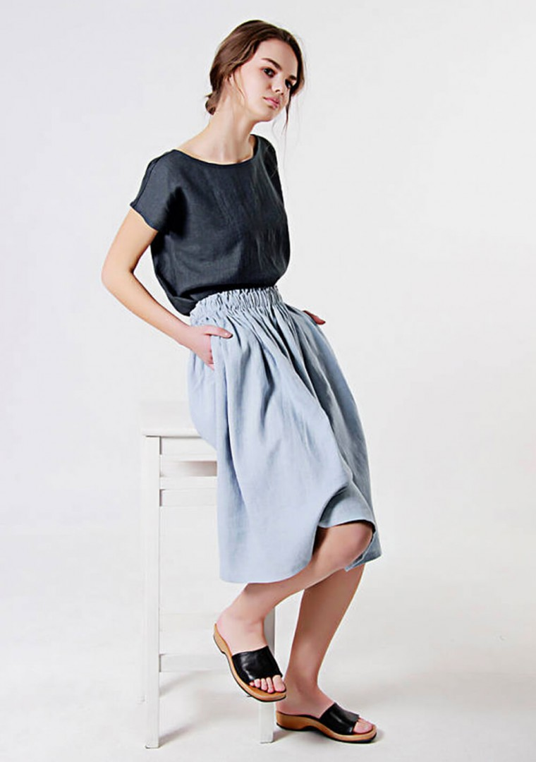 Linen ruffle waist skirt Margo 2
