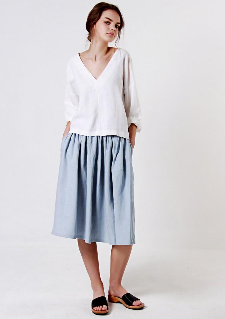 Linen ruffle waist skirt Margo 3