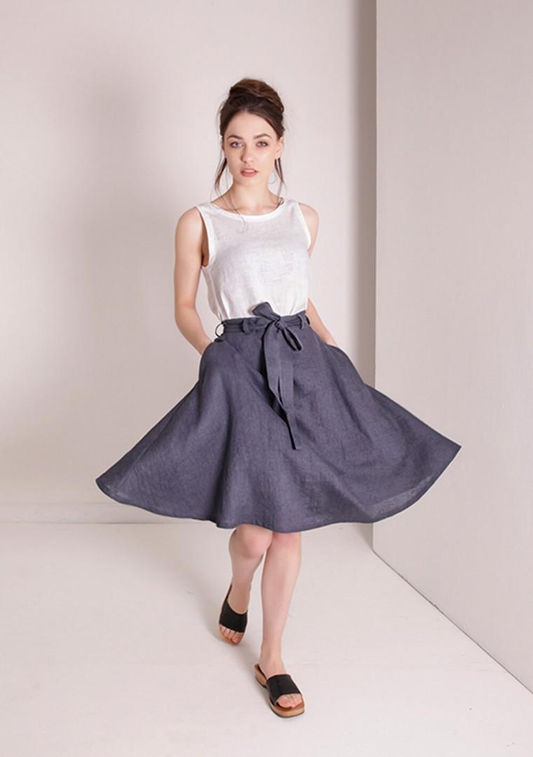 Linen midi skirt with belt Reign 1
