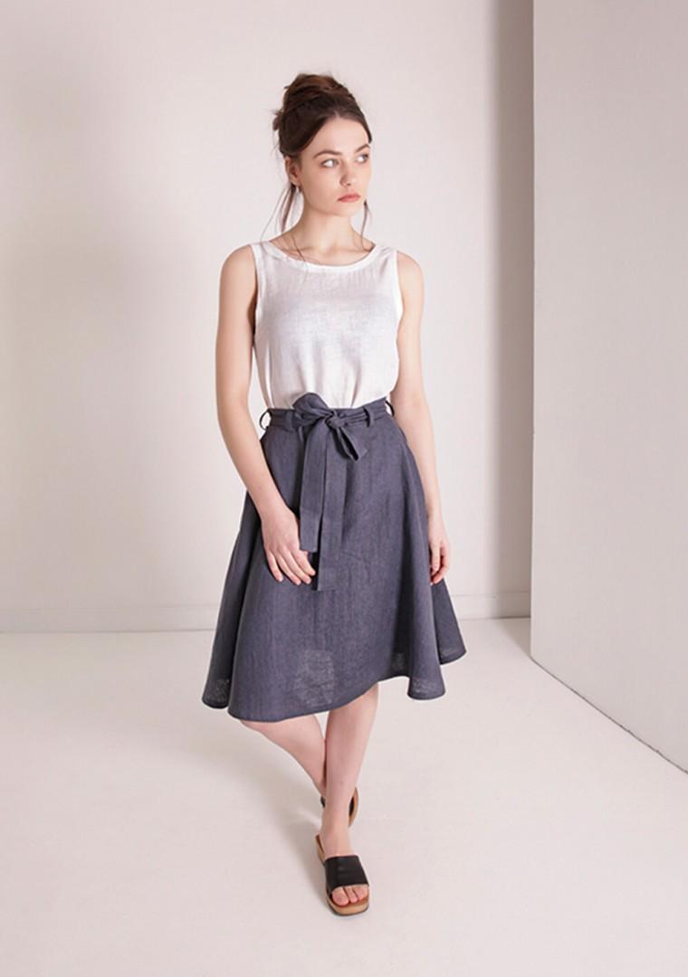 Linen midi skirt with belt Reign 2