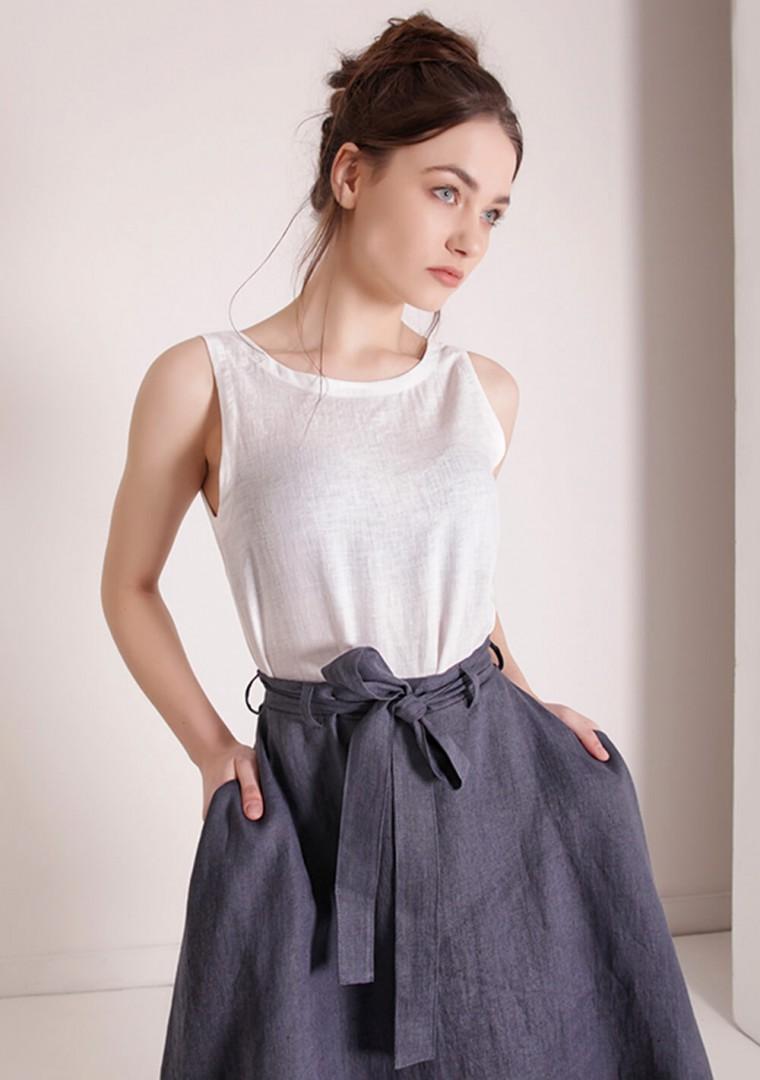 Linen midi skirt with belt Reign 3