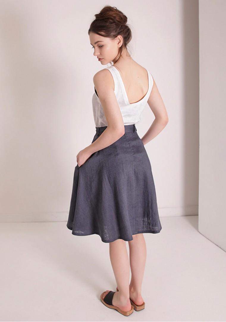 Linen midi skirt with belt Reign 4