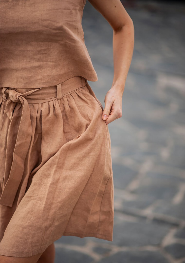 Linen midi skirt Sage 5
