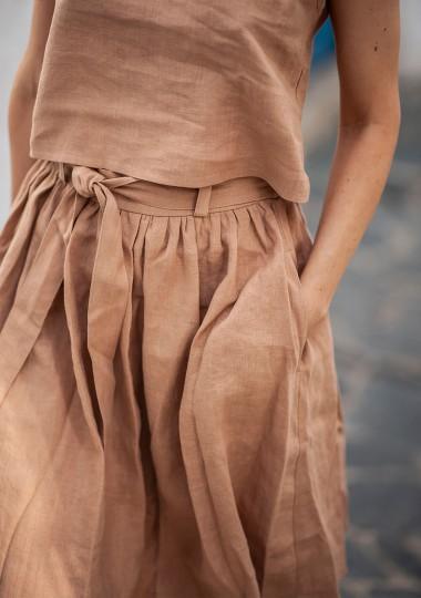 Linen midi skirt Sage