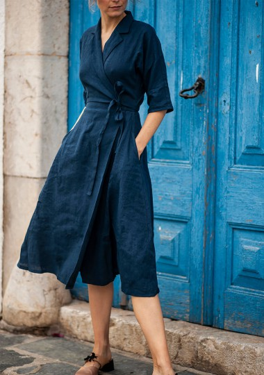 Linen dress Athena in navy blue