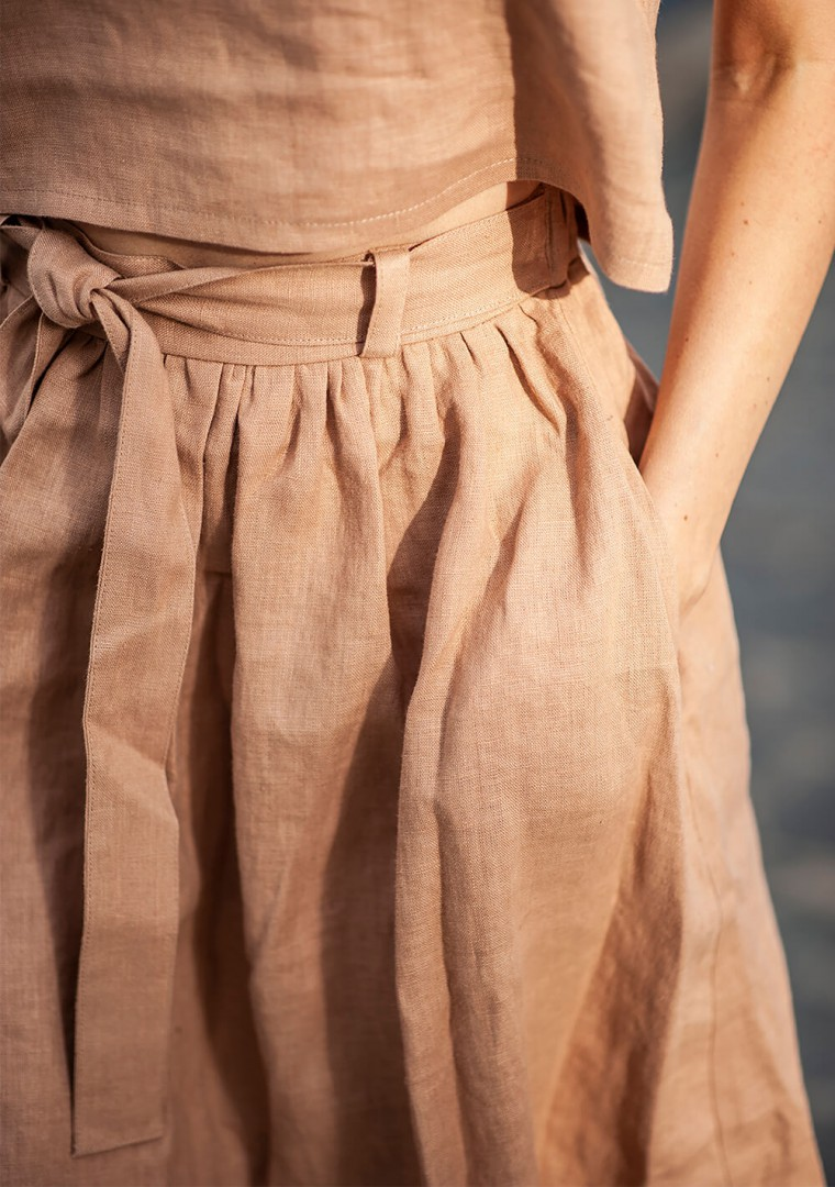 Linen midi skirt Sage 6