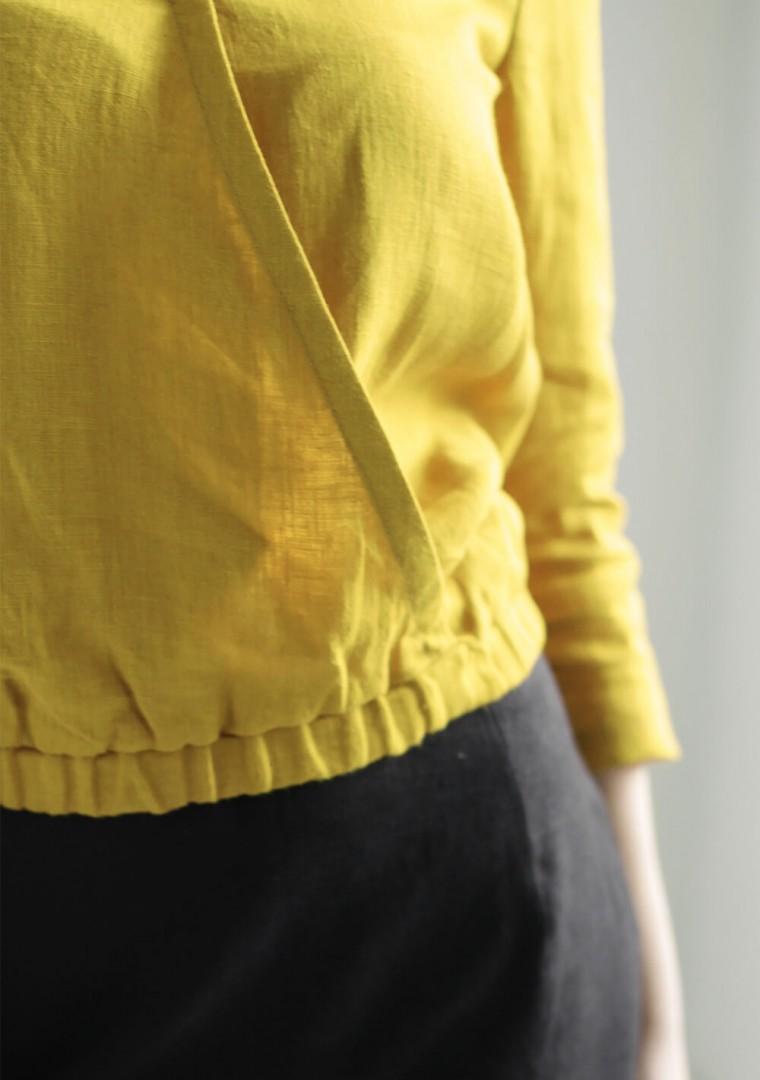 Linen wrap top Acacia in ceylon yellow 6