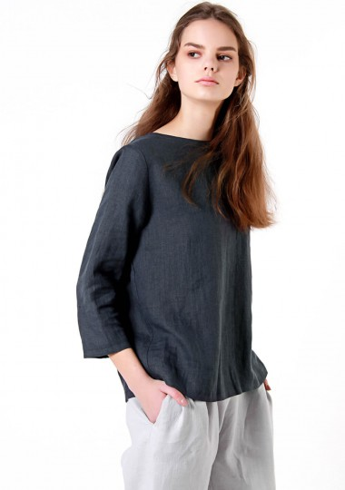 Linen T-shirt Aria in charcoal