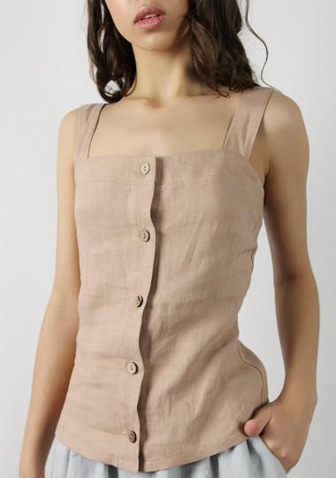 Button front linen cami top Ava